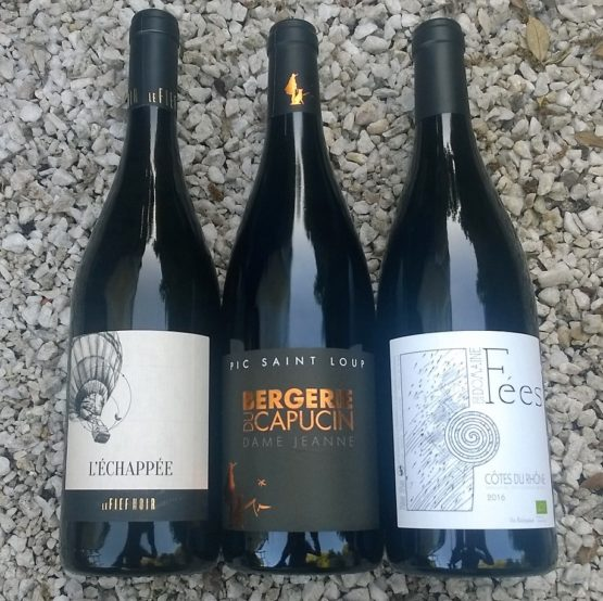 coffret-vin-bergerie-du-capucin-pic-saint-loup-échappéer-fief-noir-anjou-domaine-des-fées-côtes-du-rhône